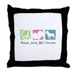Peace, Love, Bull Terriers Throw Pillow