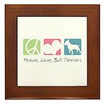Peace, Love, Bull Terriers Framed Tile