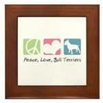 Peace, Love, Bull Terriers Framed Tile