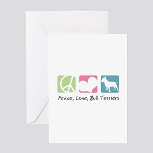 Peace, Love, Bull Terriers Greeting Card