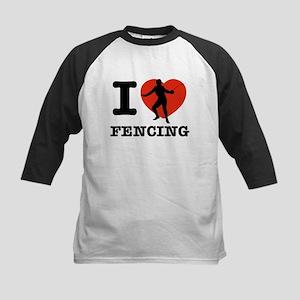 I love Fencing Kids Baseball Jersey