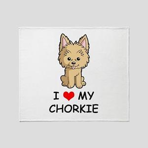 I Love My Chorkie Throw Blanket