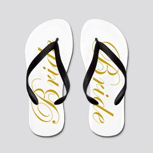 2c7aab316b4a9f BRIDE in Golden Script Wedding Flip Flops