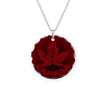 Cool Canada Necklace Circle Charm