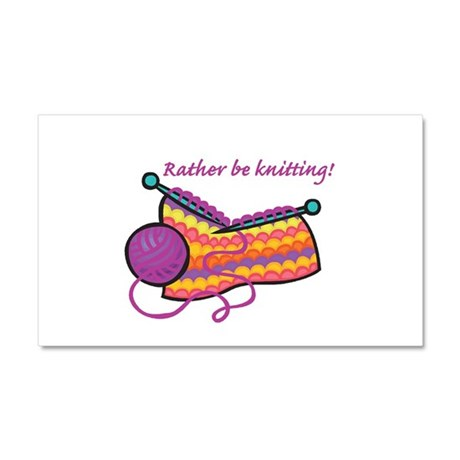 Rather Be Knitting Design Car Magnet 20 x 12