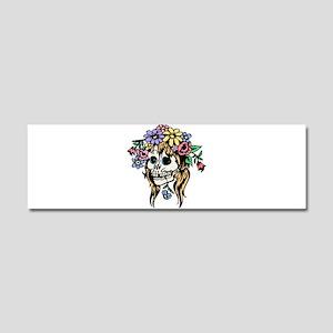 FLower Girl Goth Skull Car Magnet 10 x 3