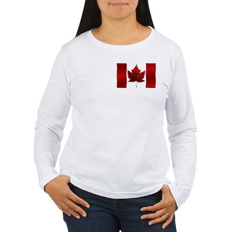 Canada Flag Women's Long Sleeve Shirt Canada Tops