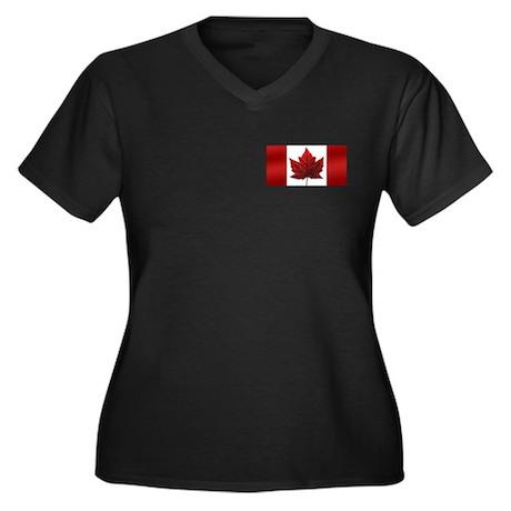Canada Flag Women's Plus Size V-Neck Dark T-Shirt