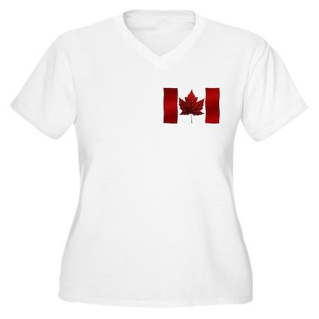 Canada Flag Women's Plus Size V-Neck T-Shirt