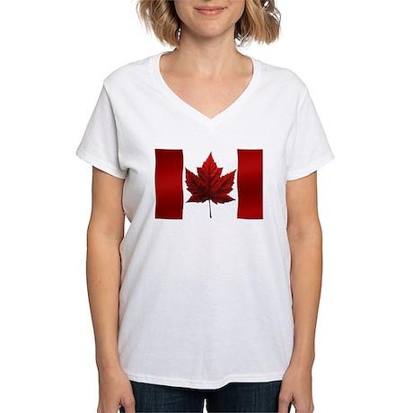 Canada Flag Women's V-Neck T-Shirt Canada Souvenir