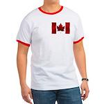 Canada Flag Ringer T-Shirt Canada Souvenir Top