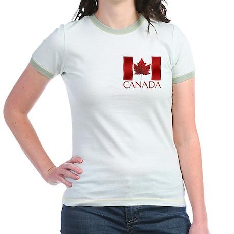 Canada Flag Jr. Ringer T-Shirt Canada Souvenir Top