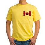 Canada Flag Yellow T-Shirt Canada Souvenir Shirt