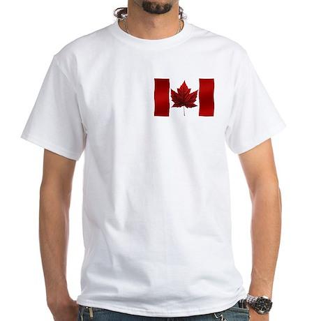 Canada Flag White T-Shirt Canadian Souvenir Shirt