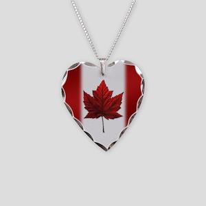 Canada Flag Necklace Heart Charm