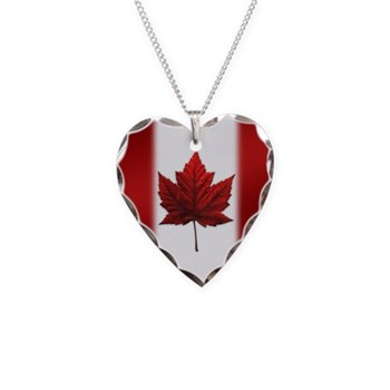 Canada Flag Necklace Heart Charm