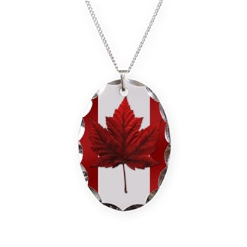 Canada Flag Necklace Circle Charm