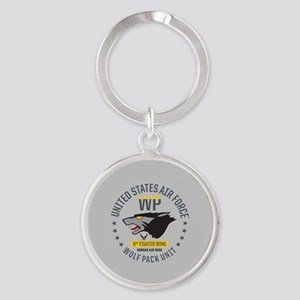 USAF Wolf Pack 8th Fighter Wing Round Keychain