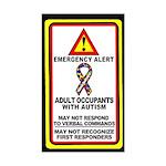 Autism Alert - Adult Occupants (Qty 1) 3x5 inches