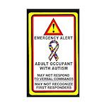 Autism Alert - Adult Occupant (Qty 1) 3x5 inches