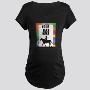Horse Border Maternity Dark T-Shirt