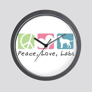 Peace, Love, Labs Wall Clock