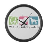 Peace, Love, Labs Large Wall Clock