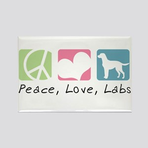 Peace, Love, Labs Rectangle Magnet