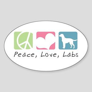 Peace, Love, Labs Sticker (Oval)