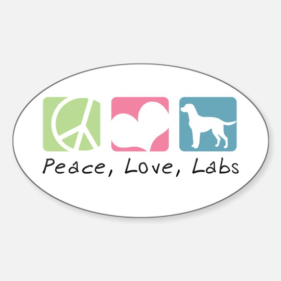 Peace, Love, Labs Sticker (Oval)