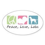 Peace, Love, Labs Sticker (Oval 10 pk)