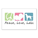 Peace, Love, Labs Sticker (Rectangle 50 pk)