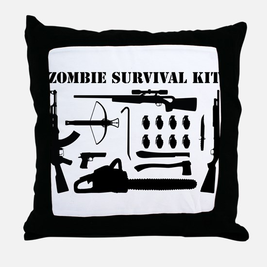 Zombie Survival Kit Throw Pillow