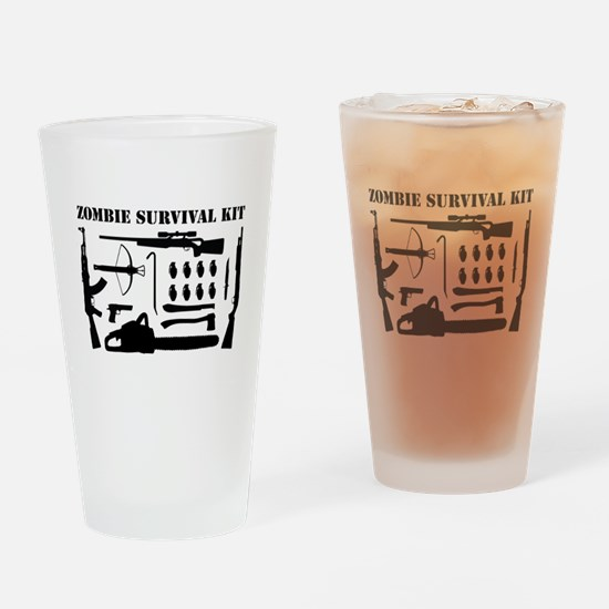 Zombie Survival Kit Drinking Glass