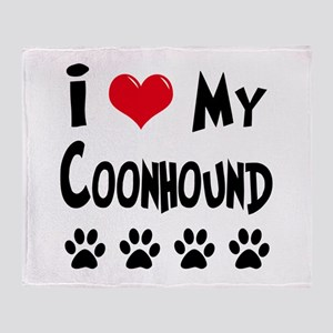 I Love My Coonhound Throw Blanket