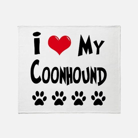 I Love My Coonhound Throw Blanket