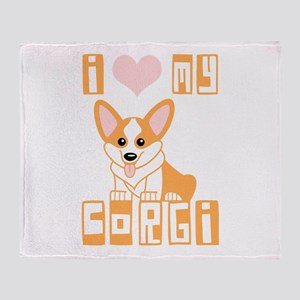 I Love My Corgi Throw Blanket