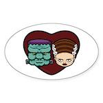 Monster Loves Bride Sticker (Oval)