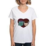 Monster Loves Bride Women's V-Neck T-Shirt