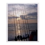 Beach Sunset Fishing Poles Throw Blanket