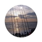 Beach Sunset Fishing Poles Ornament (Round)