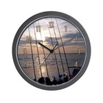 Beach Sunset Fishing Poles Wall Clock