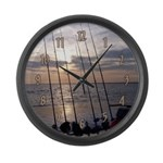 Beach Sunset Fishing Poles Large Wall Clock