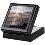Beach Sunset Fishing Poles Keepsake Box