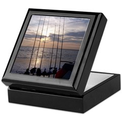 Beach Sunset Fishing Poles Keepsake Box