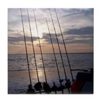 Beach Sunset Fishing Poles Tile Coaster