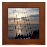 Beach Sunset Fishing Poles Framed Tile