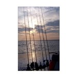 Beach Sunset Fishing Poles Mini Poster Print