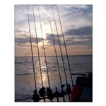 Beach Sunset Fishing Poles Small Poster