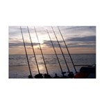 Beach Sunset Fishing Poles 38.5 x 24.5 Wall Peel